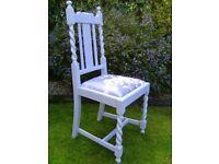 Vintage wooden bedroom chair in grey