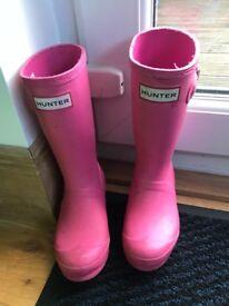 Girls Pink Hunter Wellies- size 11