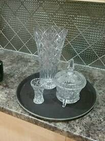 3 pieces of cut glass