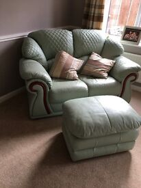Two seater settee and foot stool