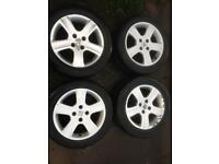 """Peugeot 307 16"""" alloy wheels alloys with good tyres 407 207 206"""