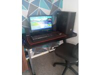 Gaming pc full set up ryzon 5 with gaming desk