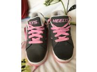 Heelys size 2 pink and grey