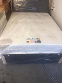 Double Divan Bed with memory foam mattress with headboard