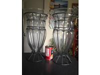 Pair Amalfi Glass Vases by Tarnow of Poland.