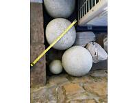 3 Large Granite Balls 1 small 6 inch
