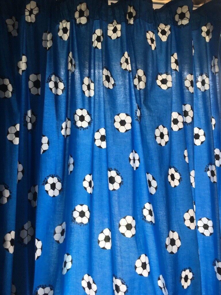 Blue Football Curtains