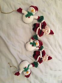 Santa and snowman tinsel