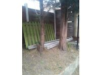 3 x 7 foot concrete fence posts and 1 x 4 foot wooden fence panel