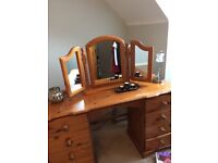 pine bedroom furniture bedside table dressing table with stool and mirror 2 sets of draws