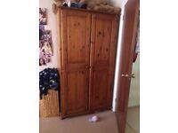 Solid Pine Double Door Wardrobe with Mirror