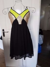 Black and Gold Party Dress size 12 - Pink Boutique