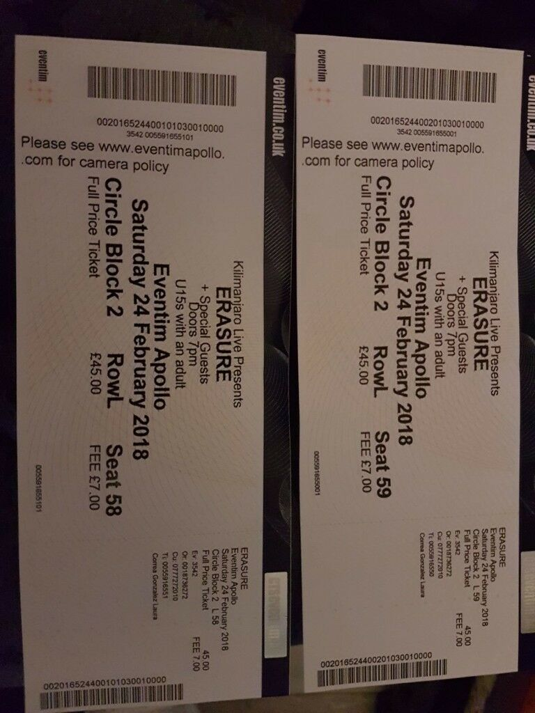 2 Erasure Circle Block 2 Seated tickets 24th March London Hammersmith