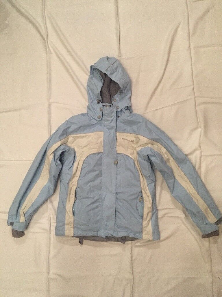 Blue and cream ladies ski jacket, trespass size S (approx 12)