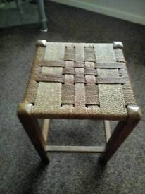 Retro wooden foot stool string woven top.