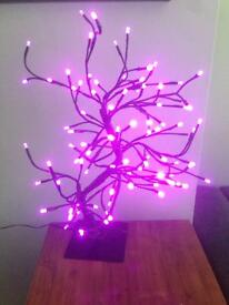 Pretty pink tree with lights
