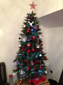 Christmas Tree with red and white decorations