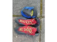 Scarpa climbing shoes and chalk bag