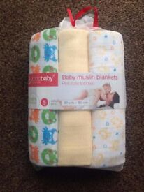 Baby muslin blankets 100% cotton (5pcs)