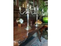 Silver plated 5 sconce candelabras (2)