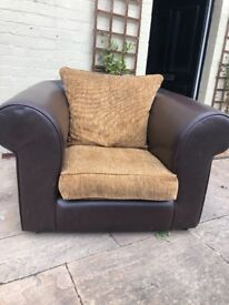 Large leather brown armchair