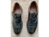 Black Leather Lace Up Oxford Shoes For Men By George