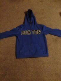 Blue hooded cardigan