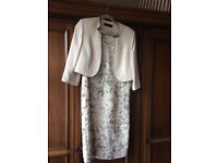 Jacques Vert Cream and Black Dress and jacket - size 12