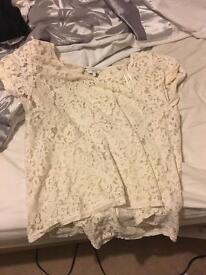 New look lace effect top size 14