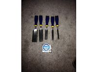 """Irwin marple chisel set brand new 2"""" 1.5"""" 1"""" 3/4"""" 1/2"""" and a 10 meter empire tape"""