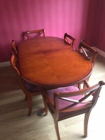 Antique YewDining Table & Chairs