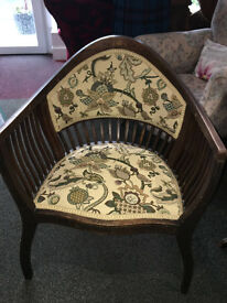 Gorgeous Antique Edwardian Carved Inlaid Mahogany Tub Chair / Side Chair / Hall Chair /Bedroom Chair