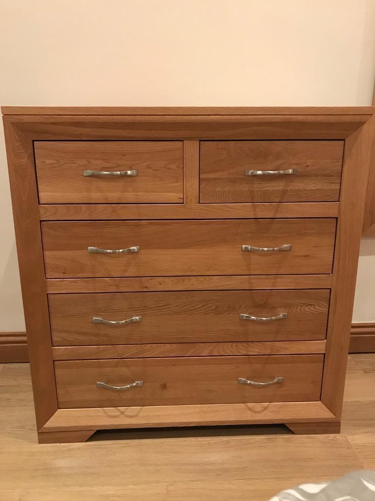 london solid oak 5. Oak Furniture Land\u0027s Bevel Natural Solid 5 Drawer Chest London N