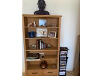 Pineapple wood book shelf with two drawers