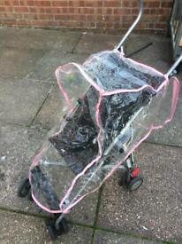 Pink stroller raincover