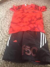 Adidas f50 top and shorts age 9-10