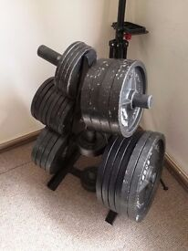 Olympic weight set york cast iron + weight stand 280kg Bargain !!!
