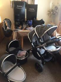 Icandy peach 3 blossom in truffle , single or double including main carrycot and adaptors