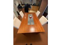 Habitat Dining Table and Four White Chairs