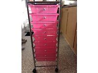 Plastic pink drawers