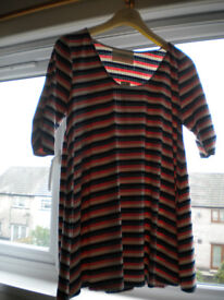 New Puella Tunic Top Size Medium From Anthropologie In Cream, Pink & 2 Shades of Blue Stripes