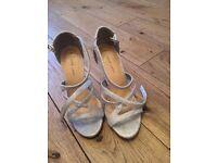 Ladies silver glitter heels new look size 3 worn once
