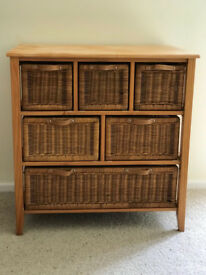 6 drawer cane/pine unit (Next)