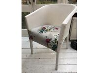 Vintage shabby chic chair white and floral dressing table stool wooden wicker bucket