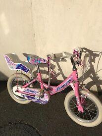 Girls pink princess bike 14 inch wheels Age 3-5