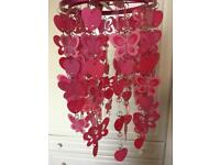 Pink butterfly and heart lamp shade