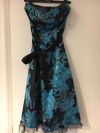 Jane Norman size 12 black/ turquoise evening dress