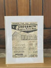 Original Vintage Grossmith windowless battery house Ad. from Poultry World mag, October 29. 1959