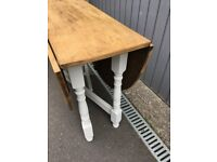 Vintage Oak Drop Leaf Dining Table - Seats Up To 4