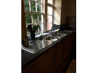 Double kitchen sink with double drainer and tap